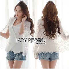 Lady Ribbon White Lace Jacket