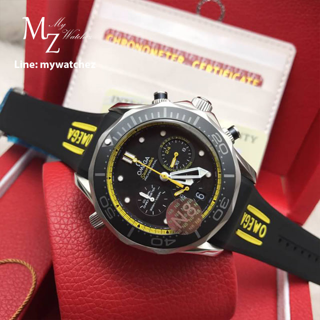 Omega Seamaster Diver 300 Co-Axial Chronograph 44MM - Yellow Bezel Rubber Strap
