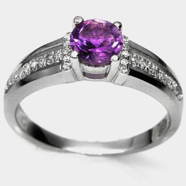 แหวนพลอยแท้ แหวนเงิน925 พลอยแท้อเมทิส ประดับเพชร CZ ชุบทองคำขาว