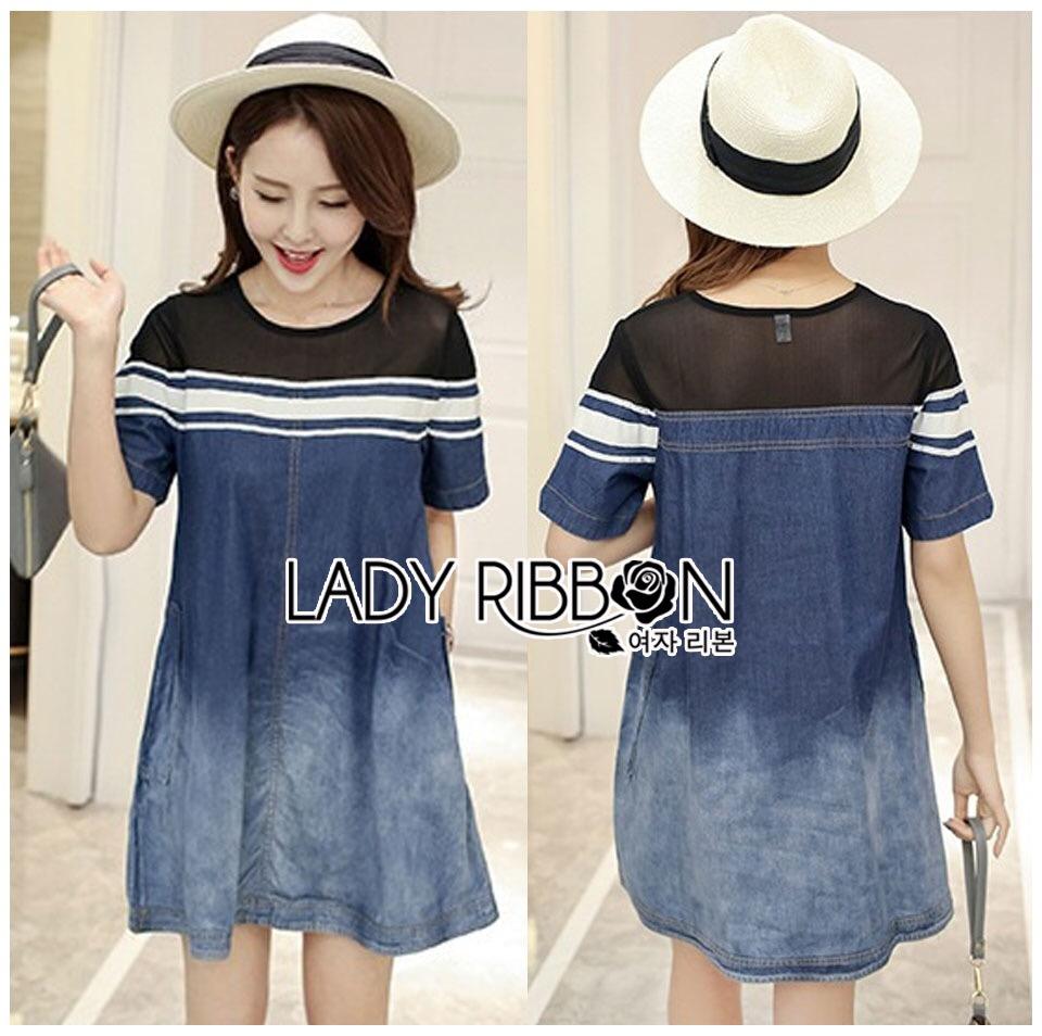Lady Ribbon Korea Dress &#x1F380 Lady Ribbon's Made &#x1F380 Lady Davina Minimal Chic Striped Ombre Denim Dress เดรสแขนสั้น
