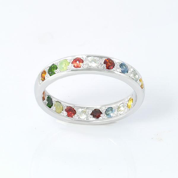 แหวนพลอยแท้ แหวนพลอยนพเก้าแท้ แหวนเงินแท้ 925 ชุบทองคำขาว