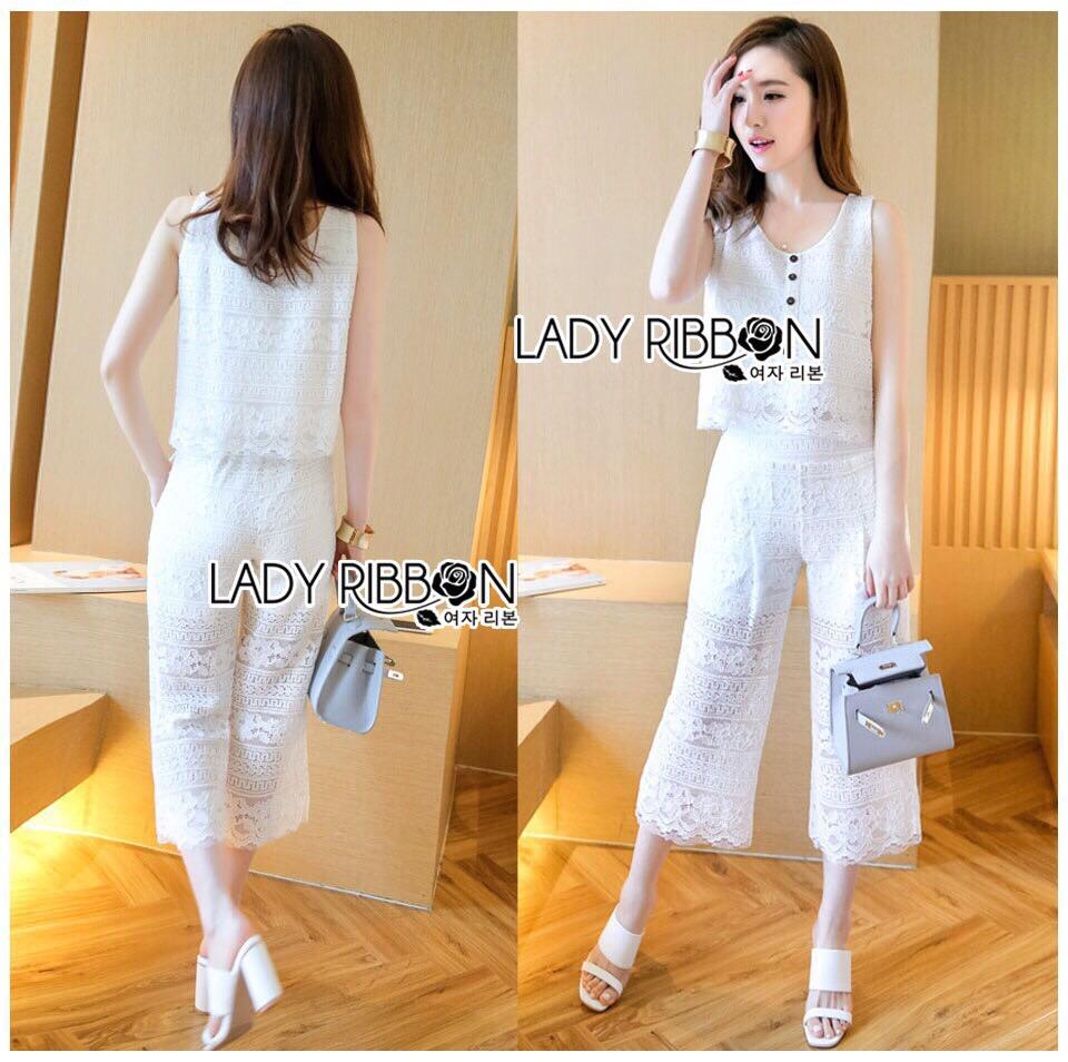 Lady Ribbon Korea Mini Dress &#x1F380 Lady Ribbon's Made &#x1F380 Lady Cara Holiday Casual White Lace Cropped Top and Culottes Set