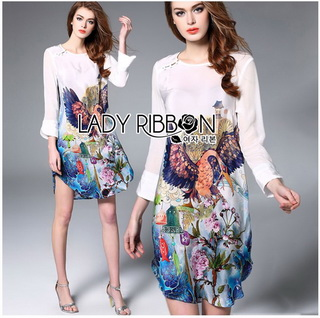 Lady Ribbon Korea Korea shop design cutting LR10010816 &#x1F380 Lady Ribbon's Made &#x1F380 Lady Olivia Smart Casual Colourful Printed Dress Shop