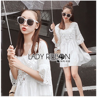 Lady Ribbon Korea Korea Shop LR09270616 &#x1F380 Lady Ribbon's Made &#x1F380 Lady Carly Sweet Vintage Shop Embroidered and Laser-Cut with Sequins Cotton Top