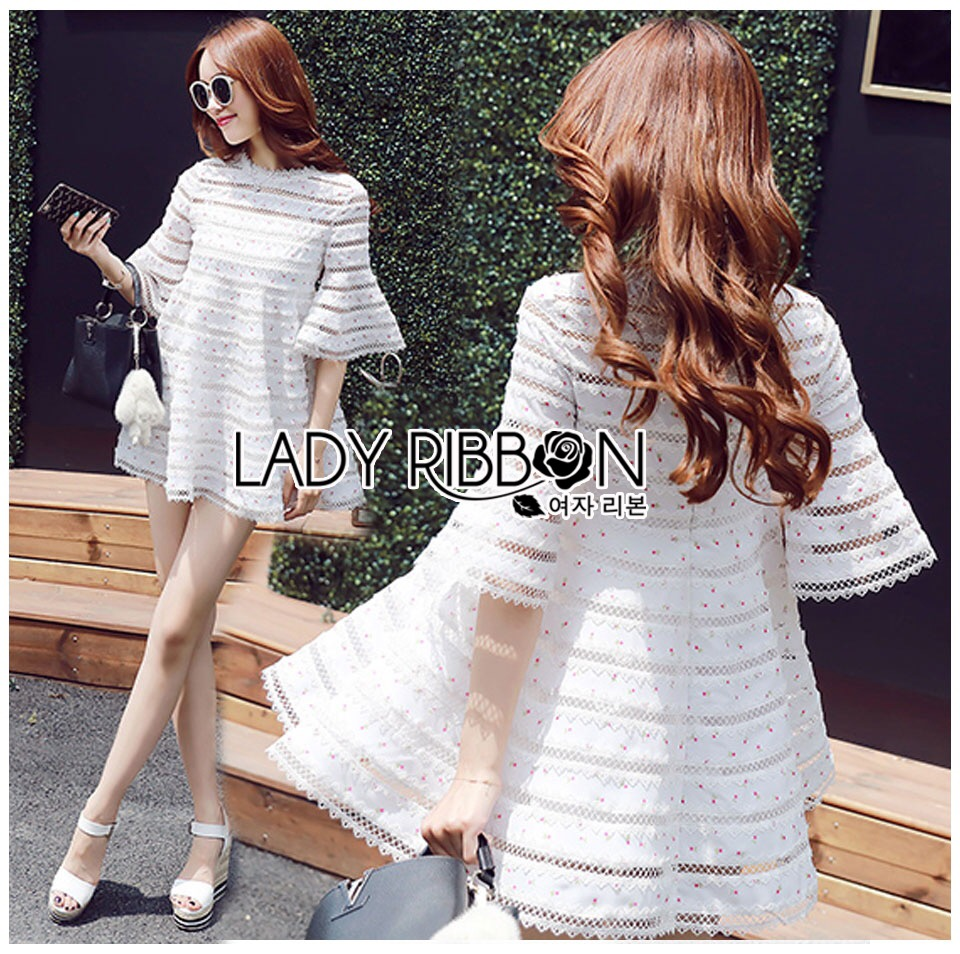 : Lady Ribbon Korea LB10160516 &#x1F380 Lady Ribbon's Made &#x1F380 Lady Jessica Sweet and Pretty Embroidered Striped White Dress เดรสสีขาว