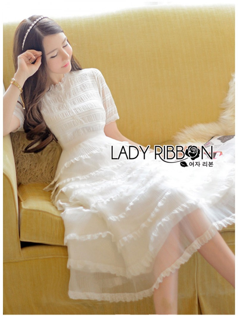 เสื้อผ้าแฟชั่นเกาหลี Lady Ribbon Thailand Lady Ariana Ruffle & Layered White Mixed Fabric Dress