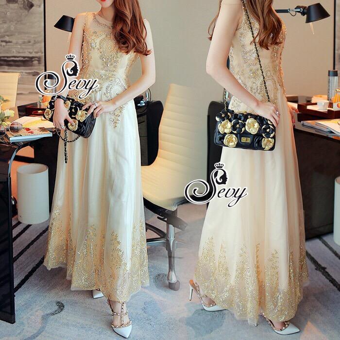 Lady Ribbon Sevy SV03290516 &#x1F389Sevy Golden Edge Sleeveless Vintage Maxi Dress