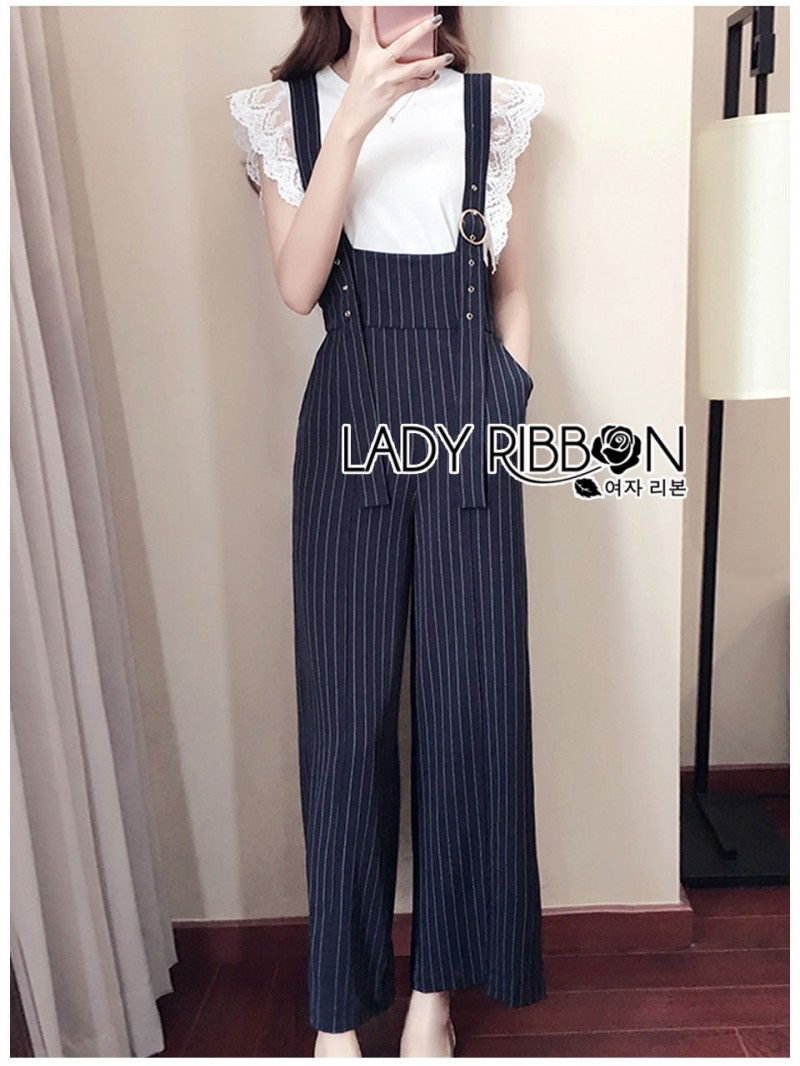 เสื้อผ้าแฟชั่นเกาหลี Lady Ribbon Thailand Serena Belt-Strap Overall Jumpsuit with Lace Knit T-Shirt Set