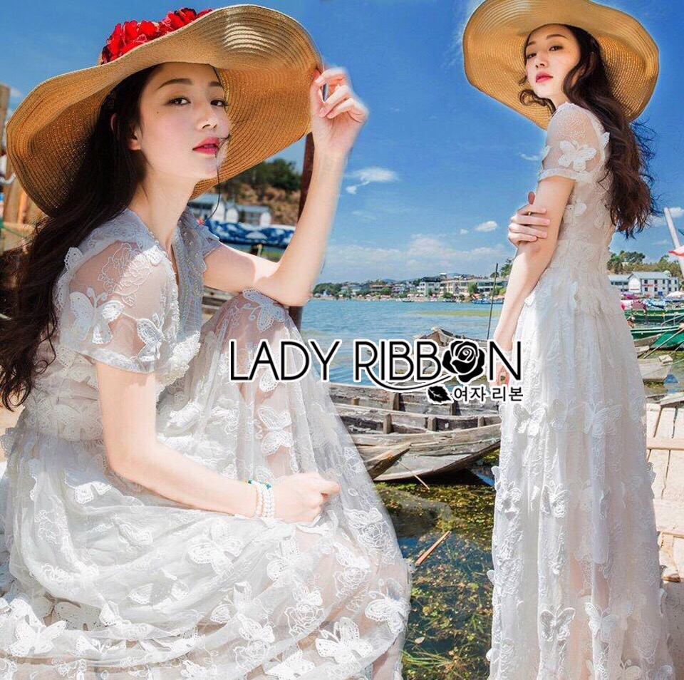 Lady Ribbon Korea Maxi Dress LR02200616 &#x1F380 Lady Ribbon's Made &#x1F380 Lady Reese Royal Sweet Pearl and Butterfly Embroidered Tulle Maxi Dress
