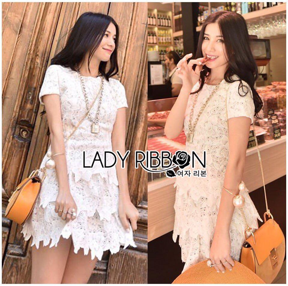Lady Ribbon's Made &#x1F380 Lady Elizabeth Sweet Feminine Layered Mini Lace Dress in White