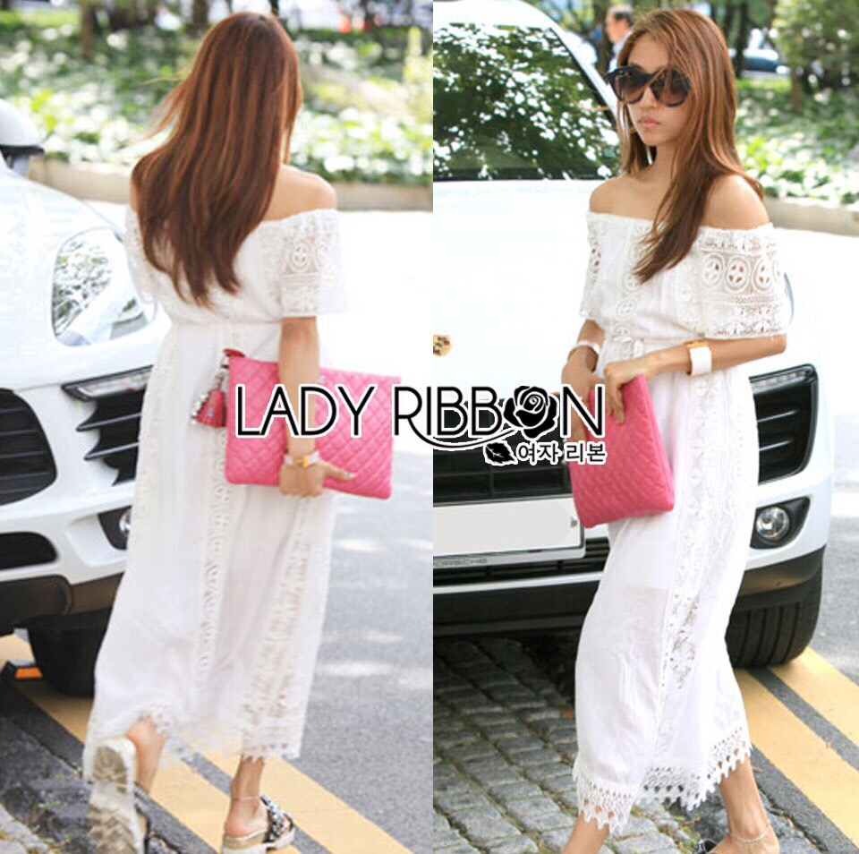 Lady Ribbon Korea LR05260516 &#x1F380 Lady Ribbon's Made &#x1F380 Lady Emilia Bohemian Off-Shoulder Embroidered Cotton Lace Maxi Dress