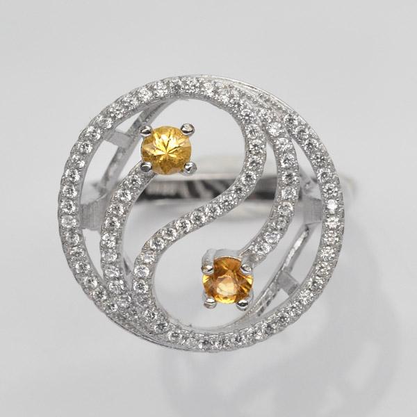 แหวนพลอยแท้ แหวนเงิน925 พลอย บุษราคัม ประดับเพชร CZ ชุบทองคำขาว