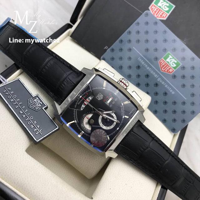 TAG HEUER Monaco Calibre12 Black Dial Leather Strap