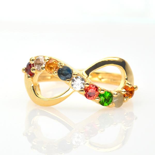 แหวนนพเก้า Infinity แหวนพลอยแท้ เงินแท้ เคลือบทองคำแท้
