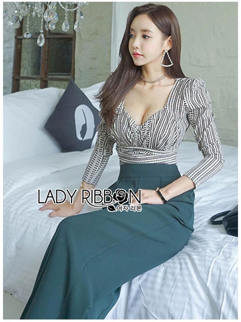 เสื้อผ้าแฟชั่นเกาหลี Lady Ribbon Thailand's Made Lady Eva Smart Casual Printed Top and Black Trousers Set