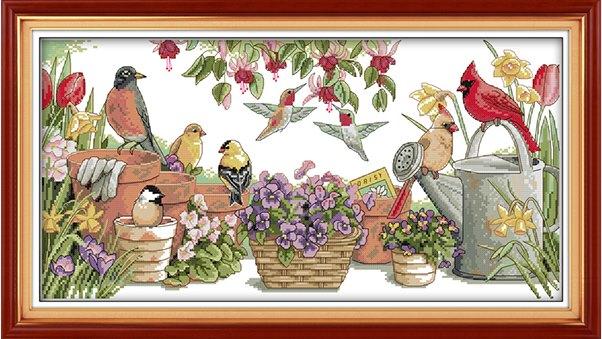 Birds in garden (ไม่พิมพ์/พิมพ์ลาย)