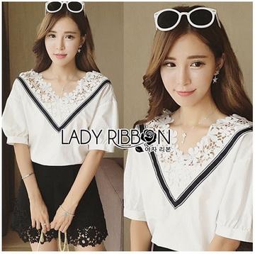 Lady Ribbon เสื้อผ้าเกาหลี LR16140716 &#x1F380 Lady Ribbon's Made &#x1F380 Lady Analeigh Sweet Chic Monochrome Lace and Cotton Blouse เสื้อคอตตอน