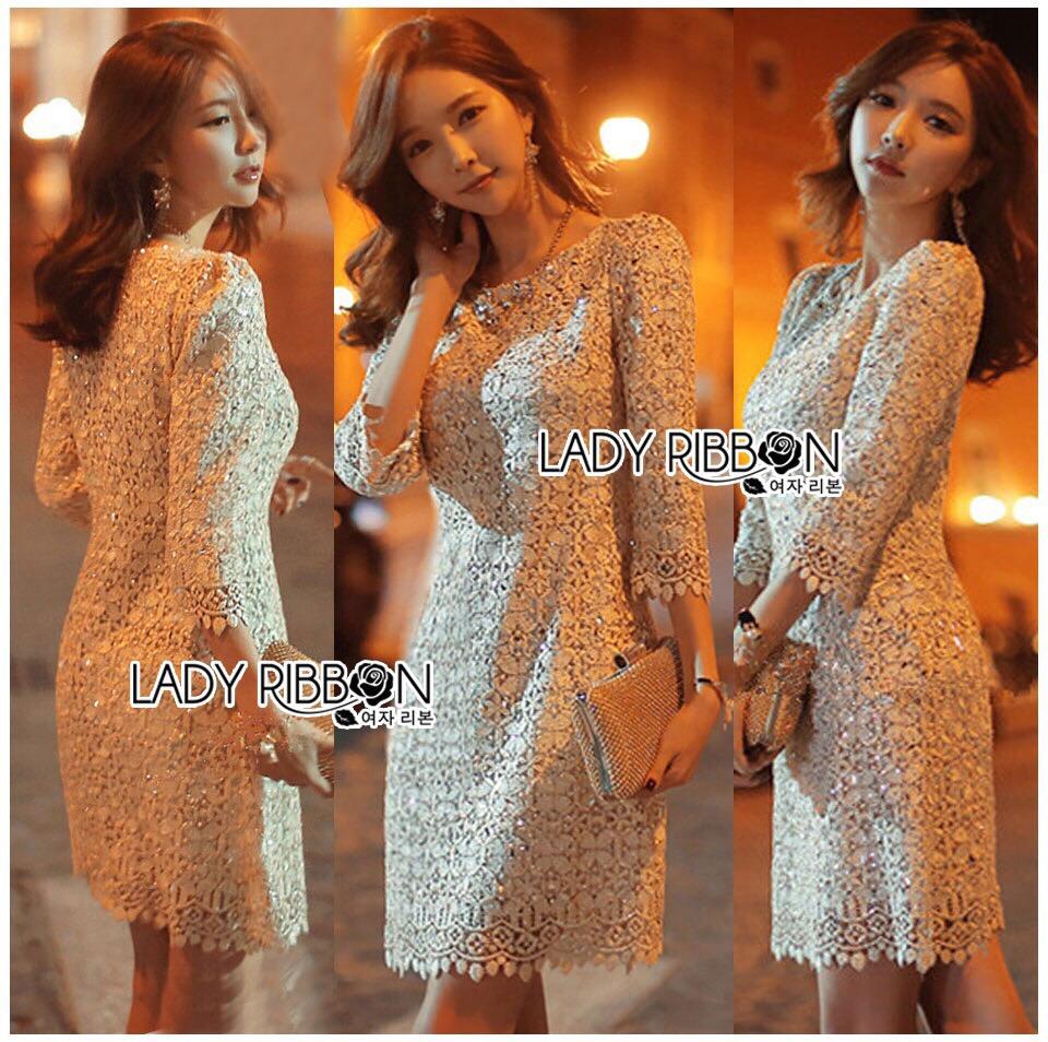 Lady Ribbon Korea LR06260516 &#x1F380 Lady Ribbon's Made &#x1F380 Lady Abigail Sweet Vintage Embellished Lace Dress เดรสผ้าลูกไม้
