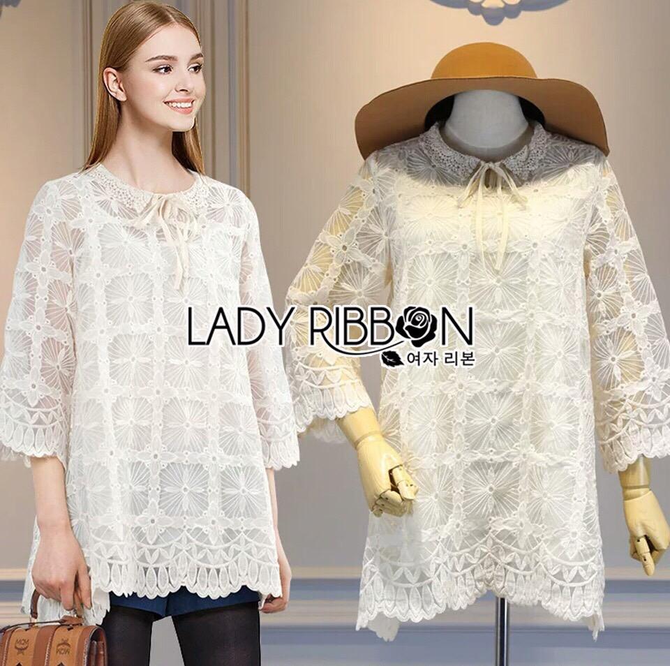 Lady Ribbon Korea LR07260516 &#x1F380 Lady Ribbon's Made &#x1F380 Lady Camilla Classic Feminine off- whiteLace Dress with Ribbon