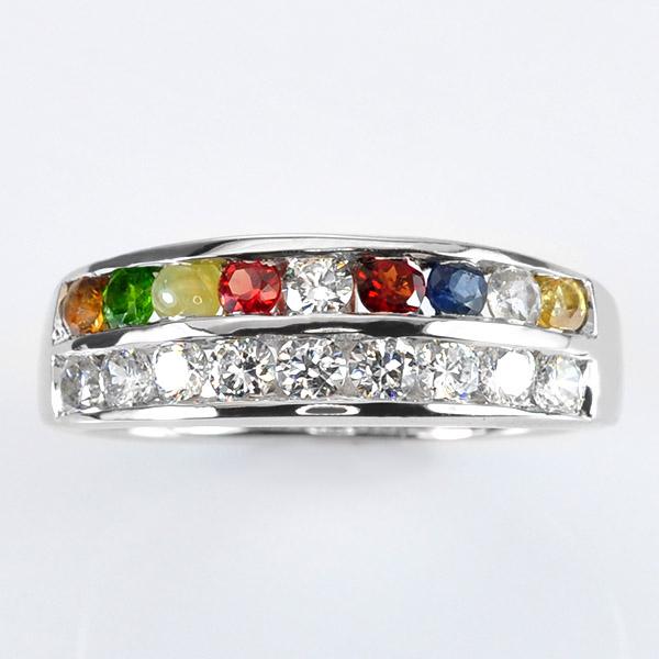 แหวนนนพเก้า แบบเรียงแถว ประดับเพชร