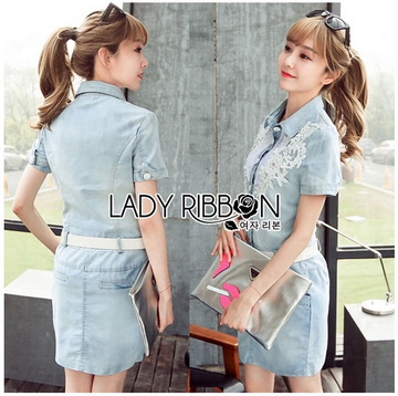 Lady Ribbon เสื้อผ้าเกาหลี LR09140716 &#x1F380 Lady Ribbon's Made &#x1F380 Chanel White Lace Denim Shirt Dress with Belt เชิ้ตเดรส