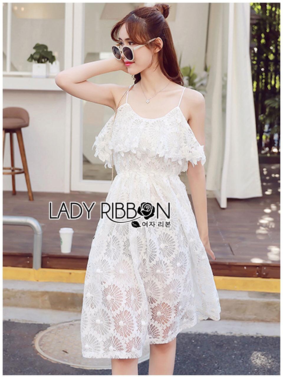 Lady Ribbon Korea Dress &#x1F380 Lady Ribbon's Made &#x1F380 Lady Lauretta Pure Summer Off-Shoulder White Lace Dress