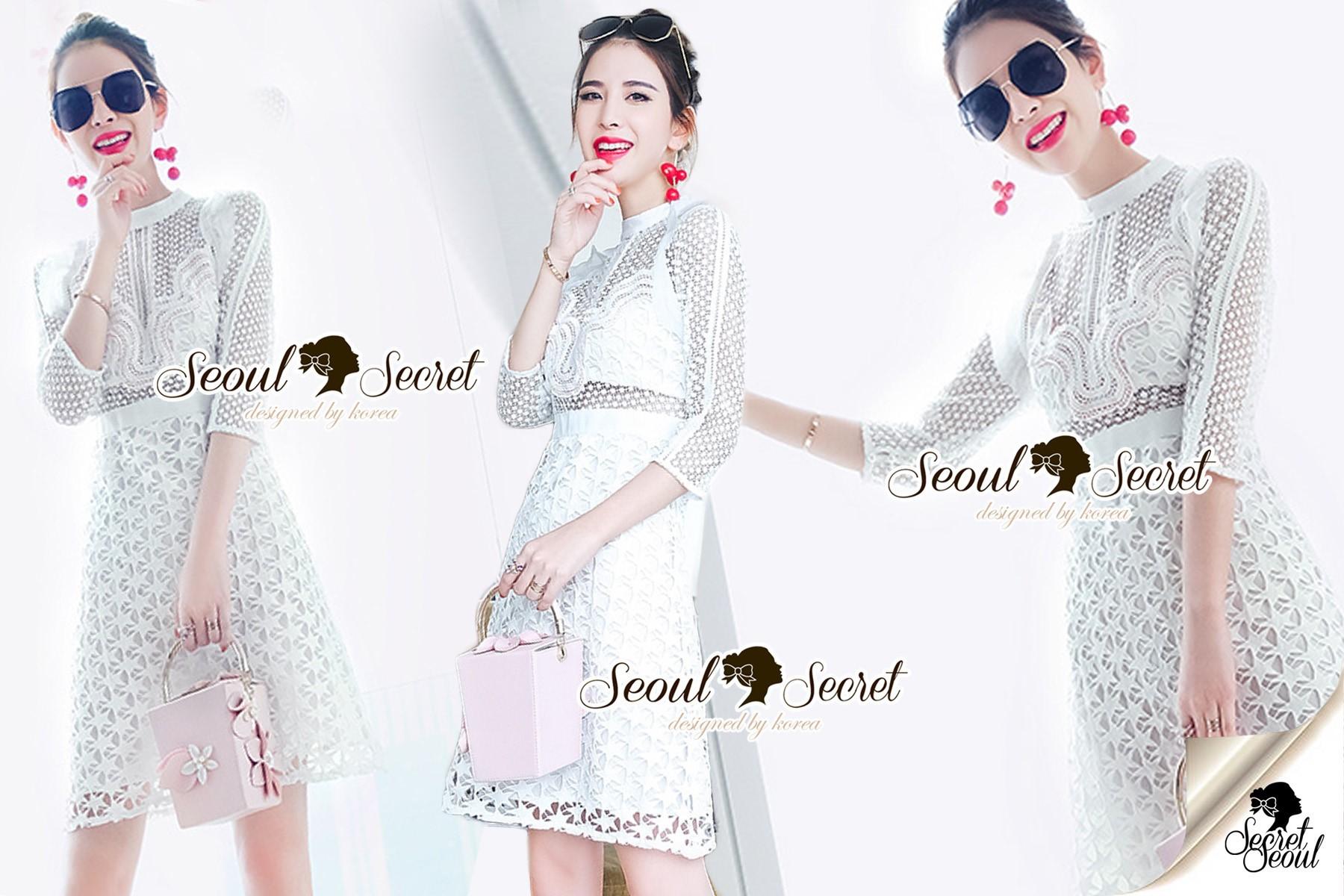 Seoul Secret Say's... Lovely Dotty White Curvy Lace Dress