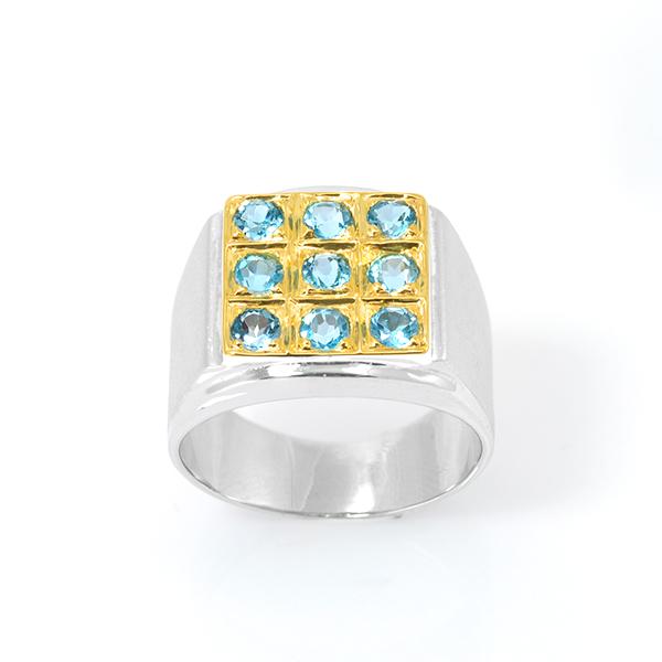 แหวนทรงผู้ชายประดับพลอยบลูโทแพซ