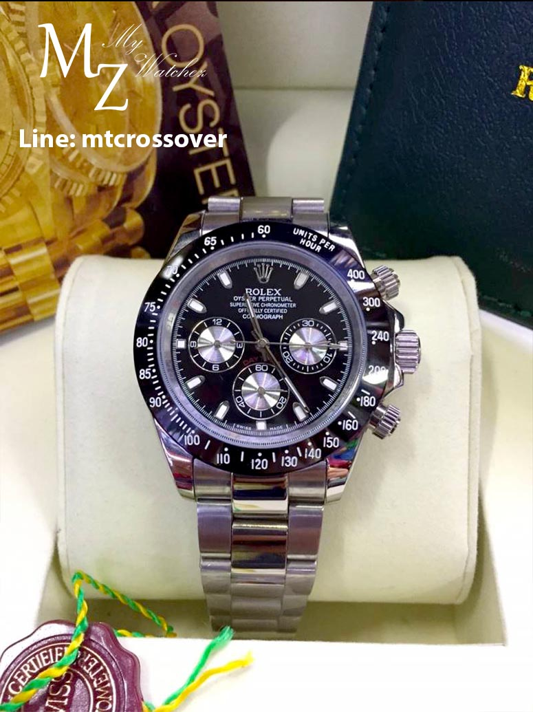 Rolex Cosmograph Daytona - Black Dial Black Bezel and 3 encounter Stainless Steal