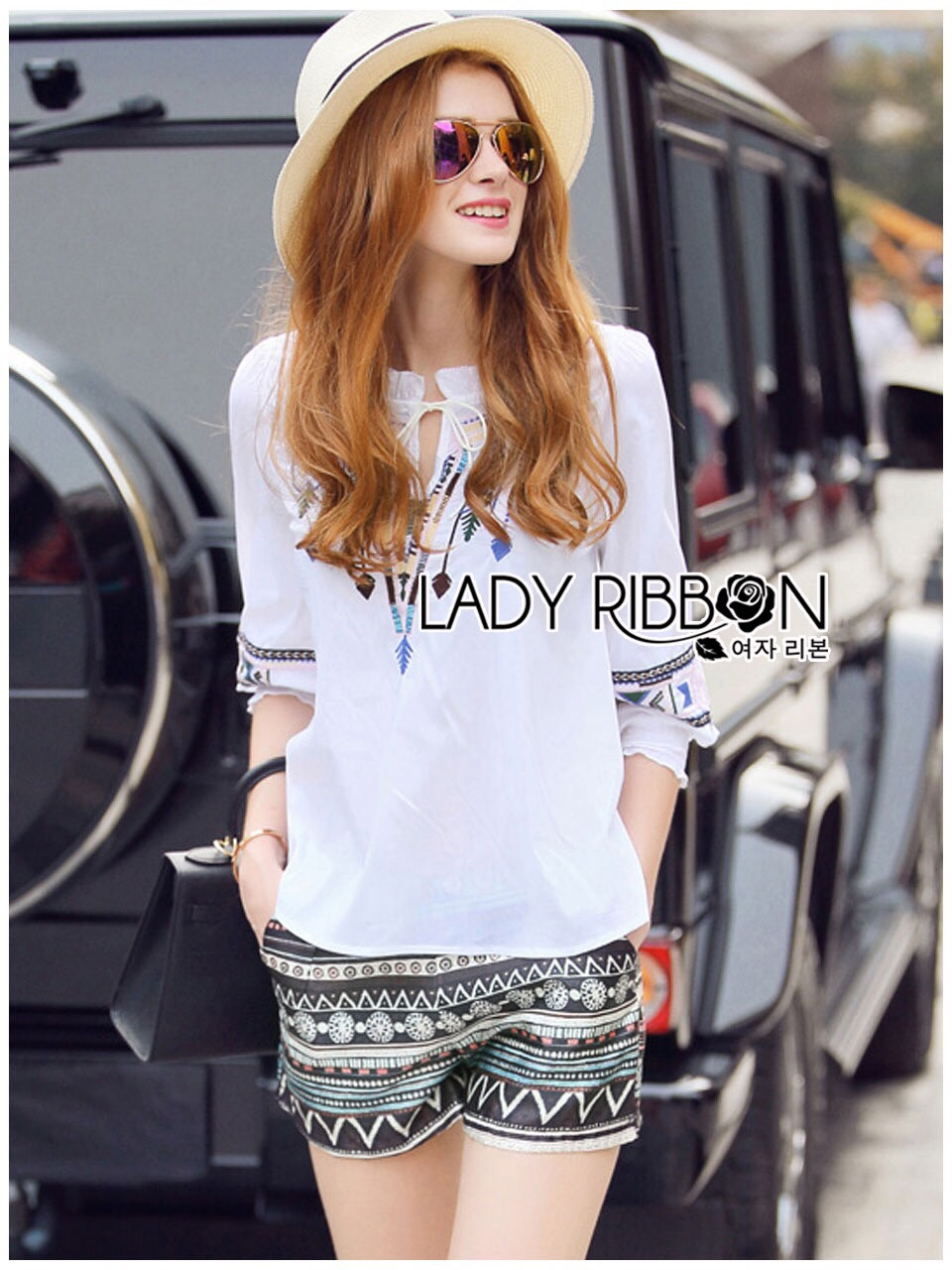 Lady Ribbon Korea LR11200616 &#x1F380 Lady Ribbon's Made &#x1F380 Lady Annie Tribal Chic Embroidered Top and Shorts Set