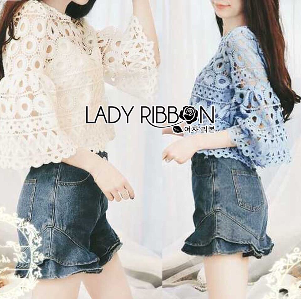 Lady Ribbon Korea Closet LR15130616 &#x1F380 Lady Ribbon's Made &#x1F380 Lady Sophia Feminine Closet Cropped Top