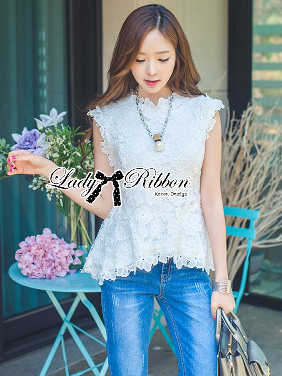 Lady Ribbon Korea Dress ผ้าลูกไม้ LR09200616 &#x1F380 Lady Ribbon's Made &#x1F380 Lady Nicole Classy Flared Sleeveless Lace Top