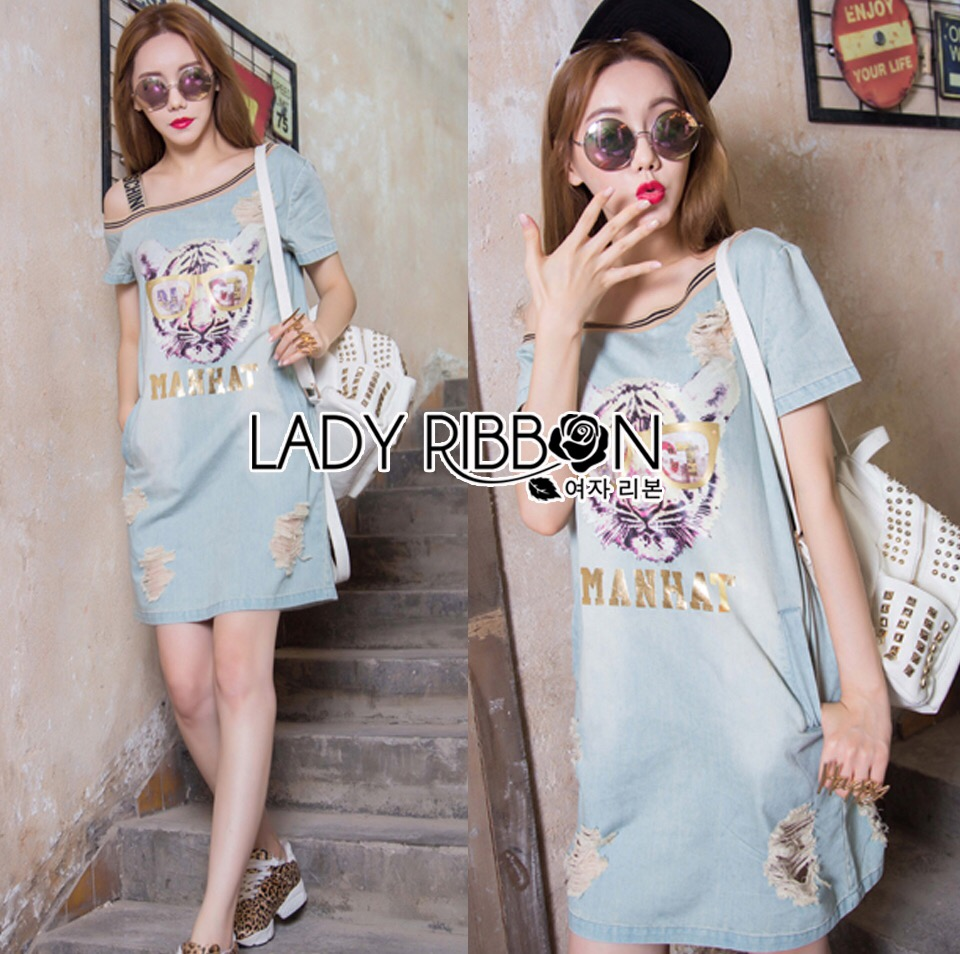 Lady Ribbon's Made &#x1F380 Lady Tamara Moschino Street Chic Tiger Embroidered Denim Dress Korea