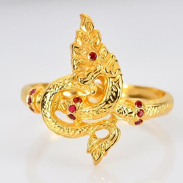 แหวนทองพยานาค ประดับพลอยทับทิม