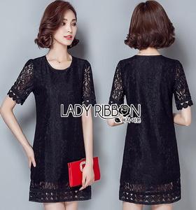 Lady Ribbon Dress มินิเดรสผ้าลูกไม้สีดำ