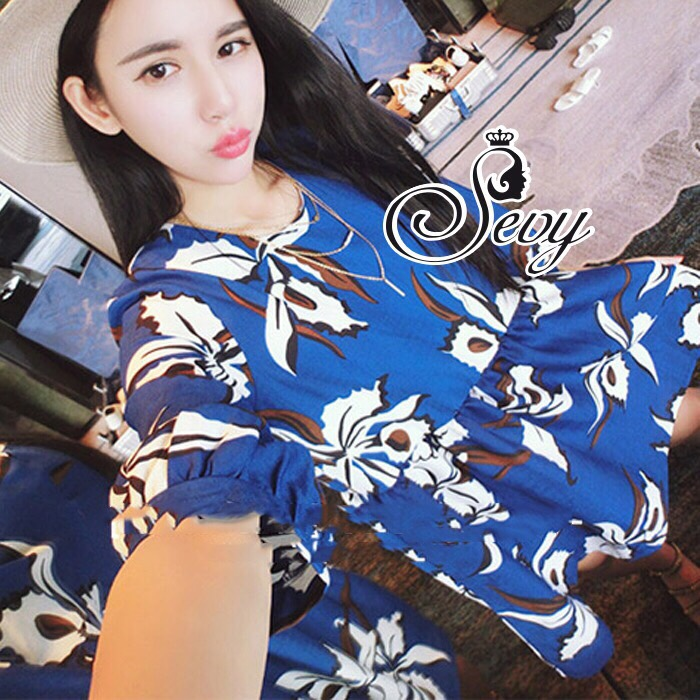 Brand Sevy Chilaxing Flower Fresh Blue Mini Dress