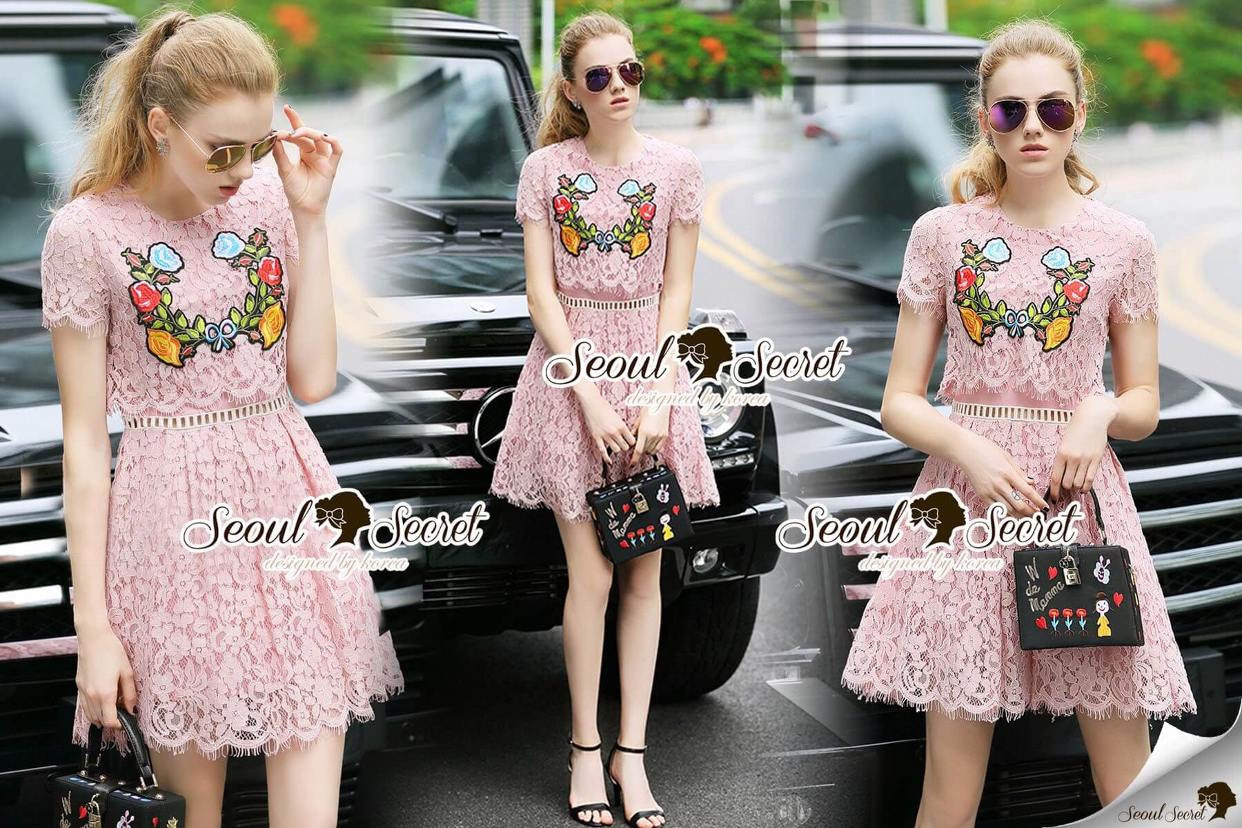 Seoul Secret Say's... Salmon Pink Lace Chic Bloom Stick Dress