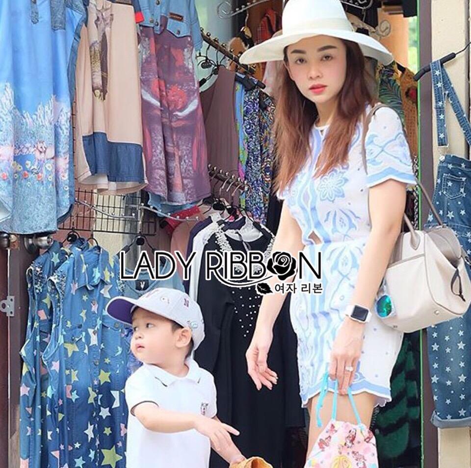 Lady Ribbon Korea Mini Dress LR10160616 &#x1F380 Lady Ribbon's Made &#x1F380 Lady Mini Dress Natalie Summery Sweet Vintage Blue and White Dress เดรสสีขาว
