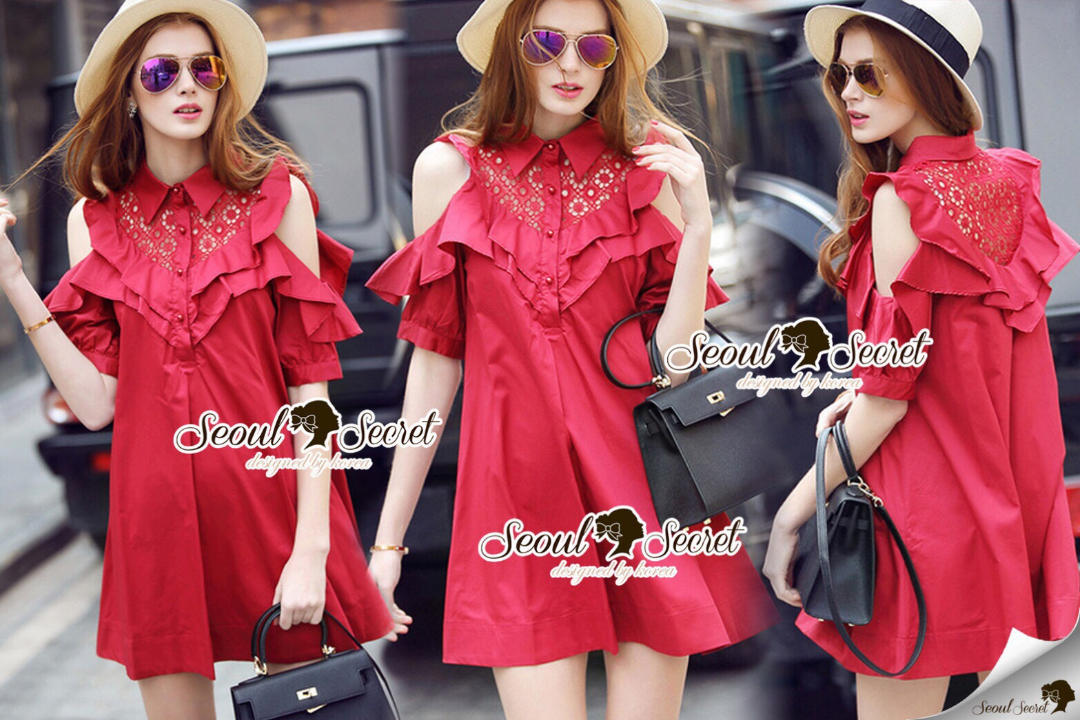 Lady Ribbon Korea SS01300516 Seoul Secret Say's... Coral Red Layer Ornamental Fringe Dress