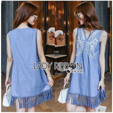 Lady Ribbon Korea Denim Dress LR12270616 &#x1F380 Lady Ribbon's Made &#x1F380 Lady Angela Sweet Vintage White Embroidered Denim Dress