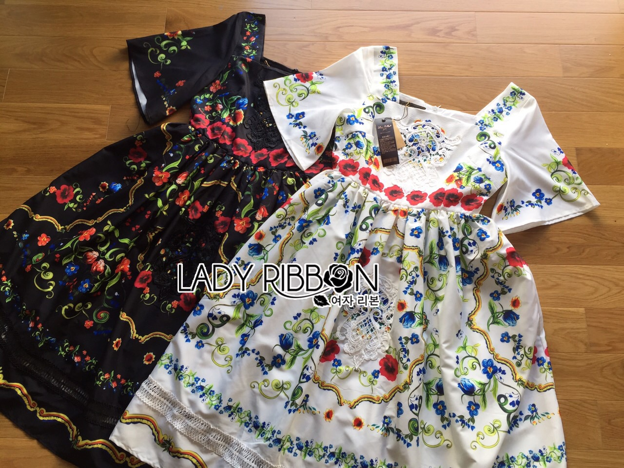 Lady Ribbon Dress LR03120516 &#x1F380 Lady Ribbon's Made &#x1F380 Lady Florence Blooming Floral Printed Lace Embroidered Polyester Dress