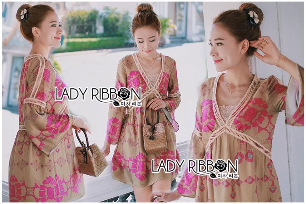 Lady Ribbon Korea Dress LR15060616 &#x1F380 Lady Ribbon's Made &#x1F380 Lady Chloe Sweet Feminine Graphic Pink Floral Printed Dress