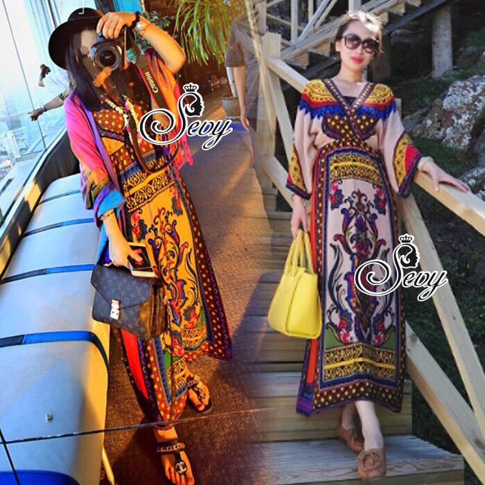 Lady Ribbon Sevy SV05290516 &#x1F389Sevy Traditional Thai Style Bohemian Chilaxing Maxi Dress