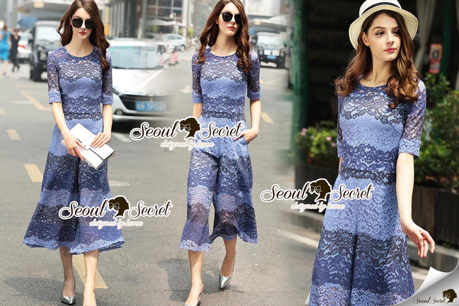 Closet Seoul Secret Say's... Pastel Violata Bluely Layer Lace Playsuit
