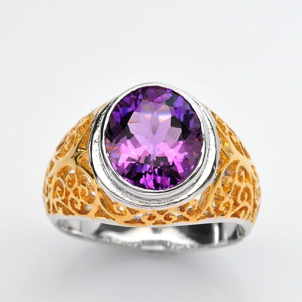 แหวนพลอยแท้ แหวนเงิน925 พลอย อเมทิส ตัวเรือน ชุบสองกษัตร ทองคำขาว-ทองคำ