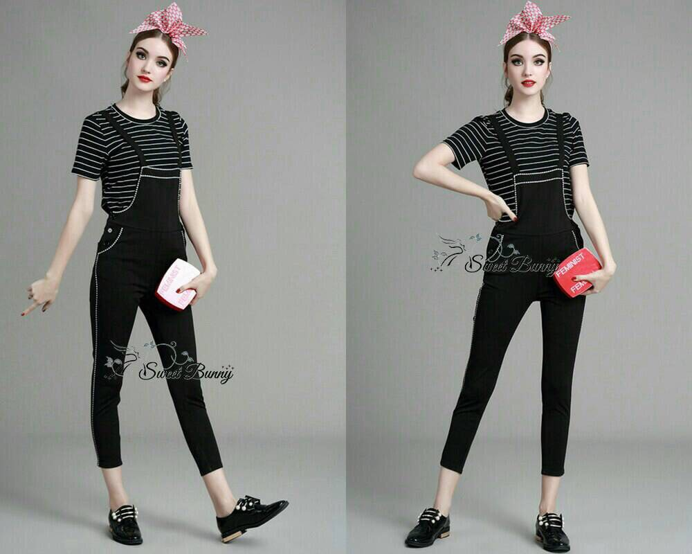 Lady Ribbon Korea Closet SB 11300516 Sweet Bunny Present... Stripe tee and black jumper set
