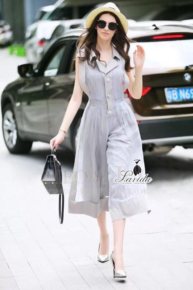 brand Korea Design By brand cliona Lavida hi-end two tone gray sleeveless feminine jumpsuit