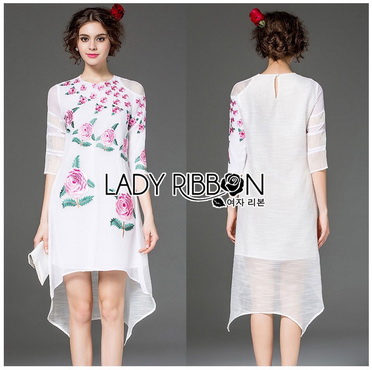 Lady Ribbon Korea Dress เชิ้ต Korea LR16300616 &#x1F380 Lady Ribbon's Made &#x1F380 Lady Stephanie Sweet Pinky English Roses Embroidered Dress