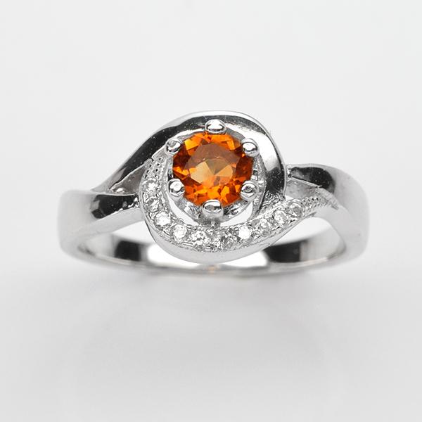 แหวนพลอยแท้ แหวนเงินแท้ 925 ชบทองคำขาว ฝังพลอยซิทริน ประดับเพชร CZ เกรดพรีเมี่ยม