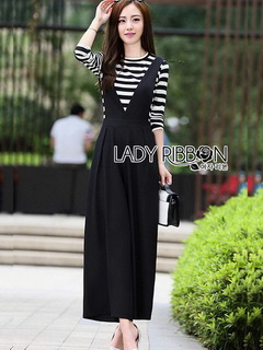 Black Overall Lady Ribbon jumpsuit